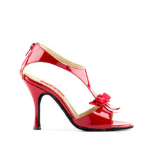 RED PATENT LEATHER,BLACK SUEDE SOLE LATIN/TANGO SHOE.BUILT FOR COMFORT COMES WITH A BACK ZIPPER.