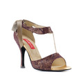 A versaillies printed bronze kid leather Latin/tango dance shoe.Made in Italy by Paoul.