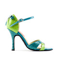 Green and light blue croccodile print sandal