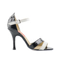 Black and white croccodile print patent leather Charleston sandal.