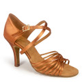 Tan Satin Latin sandal with multiple twines that makes up the toe box that holds the foot in place.The heel is designed to elongate the legs when pointing.