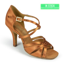 Tan satin ,Latin sandal, flexible design for complete Latin performance,straps design to keep the toes in