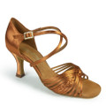 Tan satin Latin dance shoe.Design to give greater flexibility when dancing,