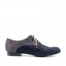 Blue gray leather with matching plaid accent men's dance shoe.Made in Italy by Paoul.
