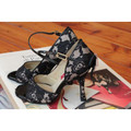 Black lace and light leather Argentine Tango and Latin dance shoe made by Paoul.