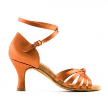 Tan Latin dance shoe with strap that can be used around the ankle or under the sole of the shoe.