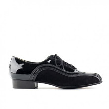 Black patent leather and black suede smooth dance shoe.