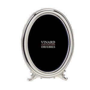 VINARD Sterling Silver Beaded Oval 5x7 Picture Frame