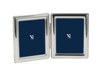 VINARD Sterling Silver Beaded Double 4x6 Multi-Photo Frame