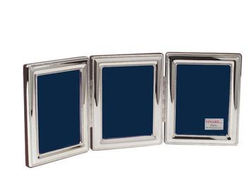 VINARD Sterling Silver Beaded Triple 4x6 Multi-Photo Frame