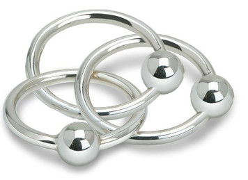 CUNILL Sterling Silver 3 Ring Ball Baby Rattle