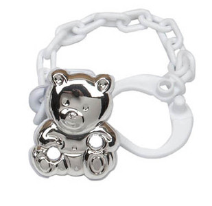 CUNILL Sterling Silver Lil' Cub Baby Pacifier Clip