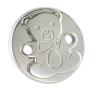 CUNILL Sterling Silver Round Teddy Baby Pacifier Clip