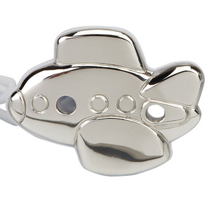 CUNILL Sterling Silver Airplane Baby Pacifier Clip