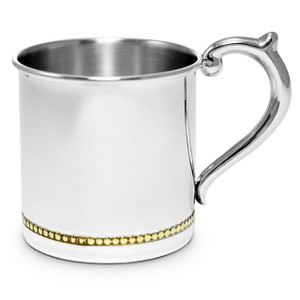 CUNILL Sterling Silver Gold Beaded Baby Cup