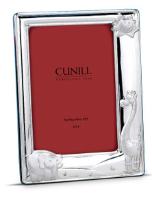 CUNILL Sterling Silver Sunny Zoo 4x6 Picture Frame (Blue Wood Back)