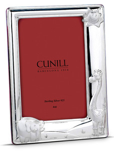 CUNILL Sterling Silver Sunny Zoo 4x6 Picture Frame (Pink Wood Back)