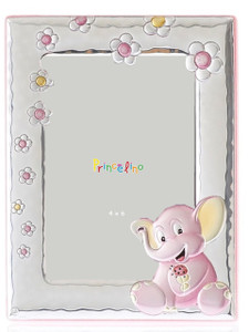 SILVERO Princelino Sterling Silver Overlay Pink Elephant 4x6 Baby Frame