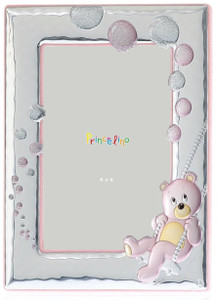 SILVERO Princelin Sterling Silver Overlay Pink Teddy 4x6 Baby Frame