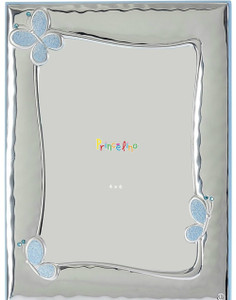 SILVERO Princelino Sterling Silver Overlay Blue Butterfly 4x6 Baby Frame
