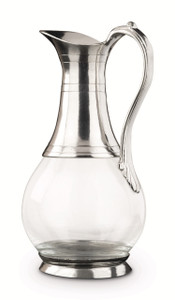 """PEWTER ITALIA Roma Glass/Pewter Pitcher H:10.6"""""""