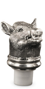 PEWTER ITALIA Boar Bottle Stopper H: 3""