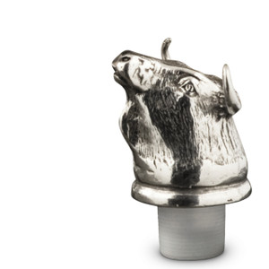PEWTER ITALIA Bull Bottle Stopper H: 3""