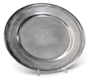 """PEWTER ITALIA Crest Platter Dia: 13"""""""