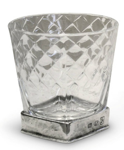 PEWTER ITALIA Diamonds Drink Glass-Pewter H: 4""