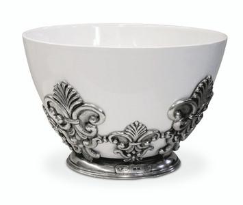 "PEWTER ITALIA Florentine Porcelain Bowl Dia. 11"""