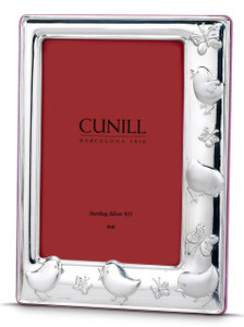 CUNILL Sterling Silver Chicks & Butterflies 4x6 Picture Frame (Pink Wood Back)