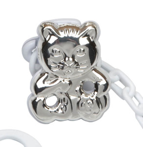 CUNILL Sterling Silver Cat Baby Pacifier Clip