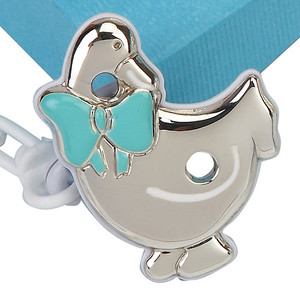 CUNILL Sterling Silver Duck Baby Pacifier Clip