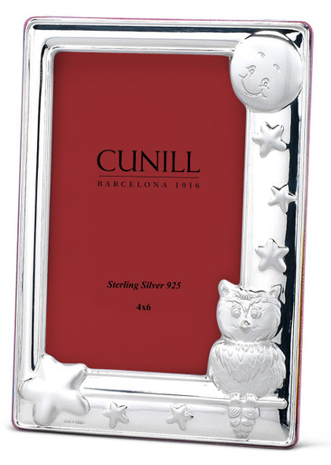 Cunill Sterling Silver Owl 4x6 Picture Frame Pink Wood Back