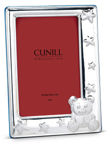 CUNILL Sterling Silver Teddy Stars 4x6 Picture Frame (Blue Wood Back)