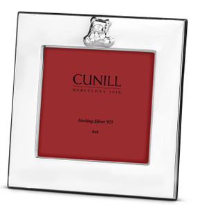 CUNILL Sterling Silver Teddy Square 4x4 Picture Frame (Pink Wood Back)