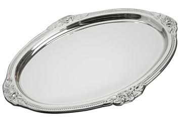 "VINARD Sterling Silver Oval Rose Tray (8.5"" x 6"")"