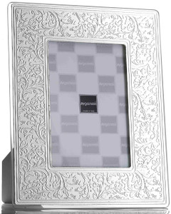 ARGENESI 999 Silver/Glass 'Floral' 5x7 Picture Frame