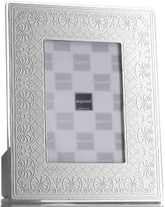 ARGENESI 999 Silver/Glass 'Flowers' 4x6 Picture Frame