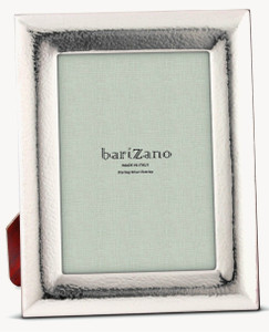 BARIZANO Sterling Silver Overlay Hammered 4x6 Picture Frame