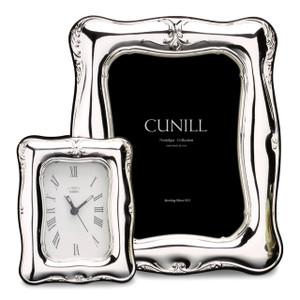 CUNILL Sterling Silver Athena Floral 2.5x3.5 Nostalgia Desk Clock