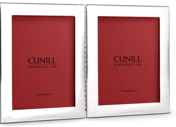 CUNILL Tarnish Proof Sterling Silver Tiffany Plain Hinged Double 5x7 Picture Frames