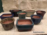 "3"" Assorted Glazed Bonsai pots, set of 8"