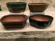 "5"" ASSORTED GLAZED BONSAI POTS, SET OF 4, #2"