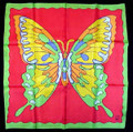27 Inch Rice Silks Butterfly Art Design - Red