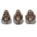 """PT10521 - 4"""" Bronze-finished Wise Buddha; Set of 3"""