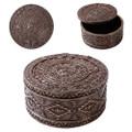 """PT11056 - 2.25"""" Aztec Round Trinket Box Bronze-finished"""