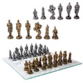 "PT11069 - 3.75"" Medieval Knight Chess Set with Glass Board"