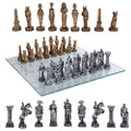 "PT11070 - 3.75"" Egyptian vs Roman Chess Set with Glass Board"