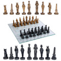 "PT11071 - 3.75"" Egyptian Chess Set with Glass Board"